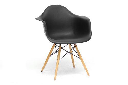 Pascal Black Plastic Mid-Century Modern Shell Chair with Chanasya Polish Cloth Bundle (Set of Two)