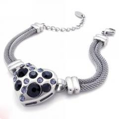 Fine Quality 316L Steel Beautiful Heart Bracelet Jewelry - Available in Black or White