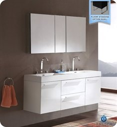 Fresca Opulento White Modern Double Sink Bath Vanity W/ Medicine Cabinet