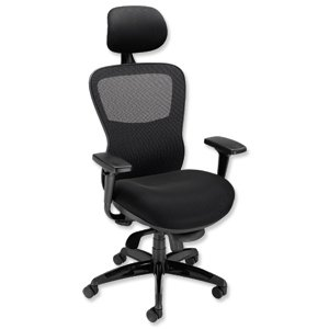 Brand New. Adroit Montgomery Heavy Duty Armchair Mesh Back 540mm Seat W550xD490xH530-595mm Black