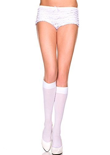 Std Size Women (8 1/2-11 Sock Size) White Versatile Nylon Knee High Stockings