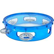 LMI Transparent Tambourine with Head Blue 15CM