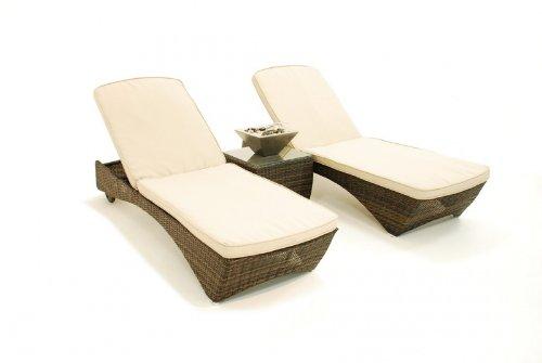 Rattan Mexiko Outdoor Gartenmöbel braun Sonnenliege Bett-Set