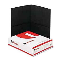 Two-Pocket Portfolio, Embossed Leather Grain Paper, Black, 25/Box, Sold as 25 Each