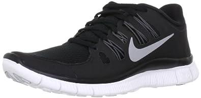 Nike Womens Free 5.0+ Running Shoes Black/Metallic Silver/Dark Grey 580591-002 Size 6