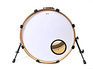 22 white bass drum skin with fitted 6 black port hole o ring musical instruments. Black Bedroom Furniture Sets. Home Design Ideas