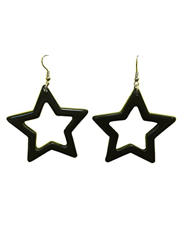80's Star Earrings Black
