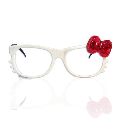 Led Bow Kitty Glasses - White