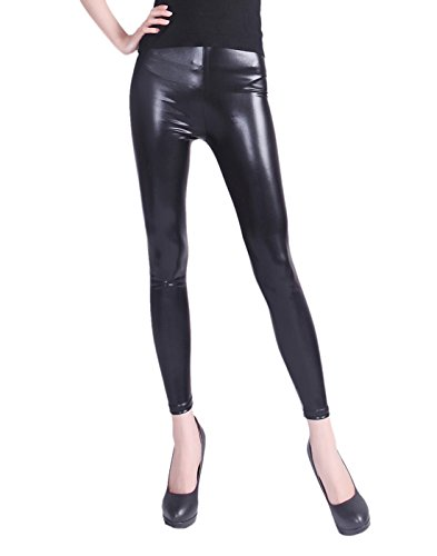 HDE Women Clubwear Shiny Liquid Wet Look Metallic Stretch Leggings - Plus Sizes Available (Black, XX-Large) (Plus Wet Look Pants compare prices)