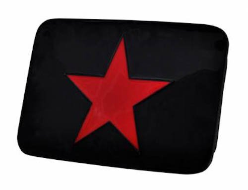 Black & Red Star Enamel Square Belt Buckle Classic Cool