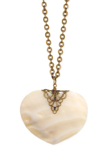 ZAD Large Shell Heart Pendant Necklace on Long 32