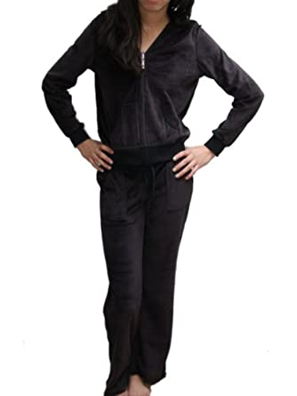YogaColors Ladies Black Velour Hoody Tracksuit (Small)