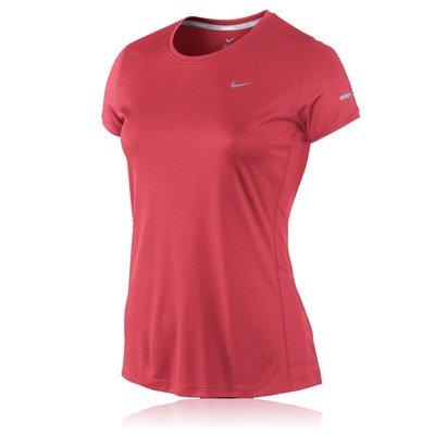 Nike Women's Miler Crew Short Sleeve Shirt-Geranium/Reflective Silver, Small