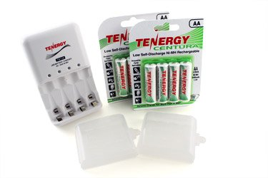 Combo: Tenergy Tn138 4-Bay Aa/Aaa Nimh Led Battery Charger + 2 Cards Centura Aa Nimh Rechargeable Batteries (8Pcs) W/ Holders