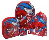 Spid001059 Childrens Spiderman Classic 4 Piece Wheeled Trolley Bag Backpack Swimbag And Wallet Luggage Travel Set from Trademark Collections