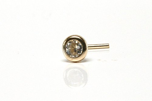 9ct Gold 2.5mm Clear Cubic Zirconia Nose Stud
