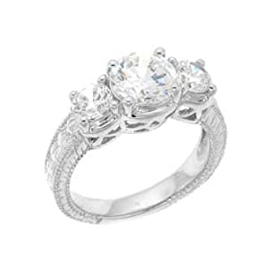 Sterling Silver Engagement Ring With Round Cubic Zirconia in a Four Prong Setting and Two Side Stones