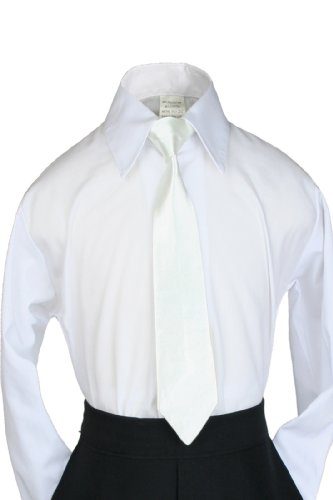 Unotux 9 Color Satin Clip-On Necktie Formal Tuxedo Suit Size:S-20 (S:9.5 Inches (S - 4T), Ivory) front-950207
