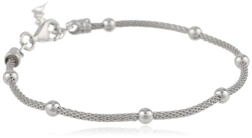 "Italian Sterling Silver Rhodium Plated Mesh High Polished Bead Bracelet, 7.5"" + 1"" Extender"