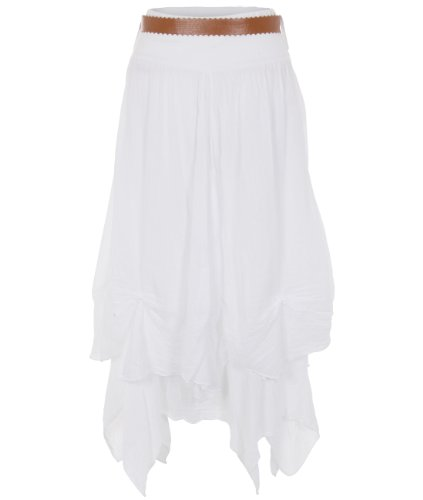 KRISP Womens Belted Top Boho Gypsy Tiered Parachute Hitch Hem Long Maxi Skirt Festival (White,M)