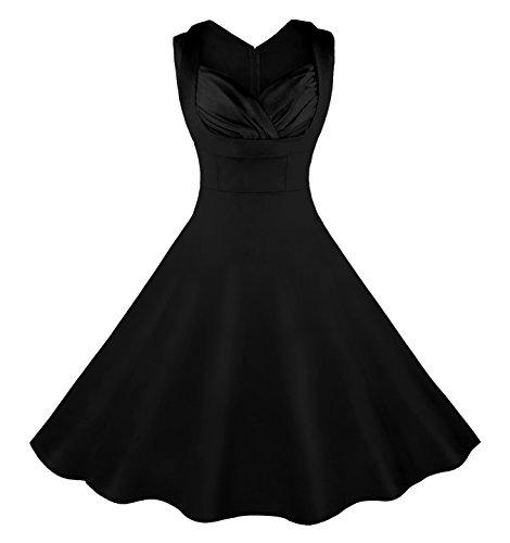 Killreal Women's 1950's Cut Out V-Neck Vintage Casual Party Cocktail Swing Dress Plus Size Black 4X-Large (Plus Size Vintage compare prices)