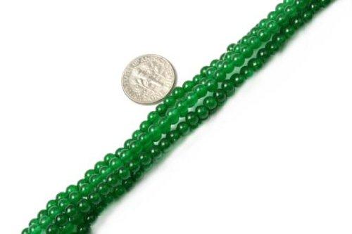 Sweet & Happy Girl'S Store 4mm Round Gemstone Green Jade Beads Strand 15