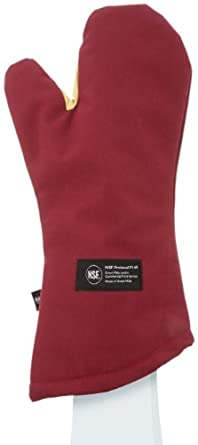 "San Jamar KT0218 Kool-Tek Nomex Conventional Temperature Protection Oven Mitt, 18"" Length, Red"