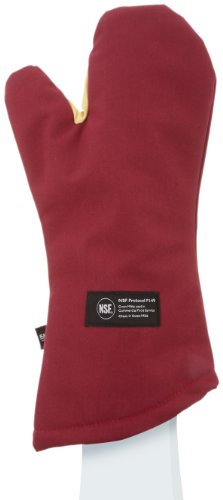 "San Jamar Kt0218 Kool-Tek Nomex Conventional Temperature Protection Oven Mitt, 18"" Length, Red front-599985"