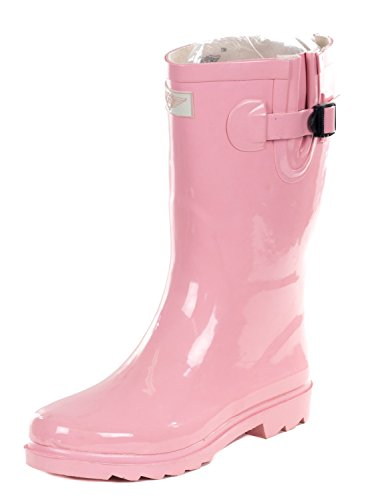 Women Mid-Calf Baby Pink Rubber Rain Boot, 8 (Women Rain Boots Pink compare prices)