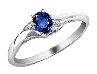 Click to buy Sapphire Promise Ring: Blue Sapphire Ring with Diamonds in 10K White Gold from Amazon!