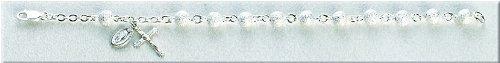 Sterling Silver Rosary Bracelet Bracelets Catholic 6mm Frosted Bead 7.5