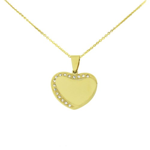 Ladies Stainless Steel Gold Tone Heart CZ Pendant