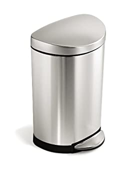 simplehuman Semi-Round Step Trash Can, Fingerprint-Pr​oof Brushed Stainless Steel, 10-Liter /2.6-Gallon