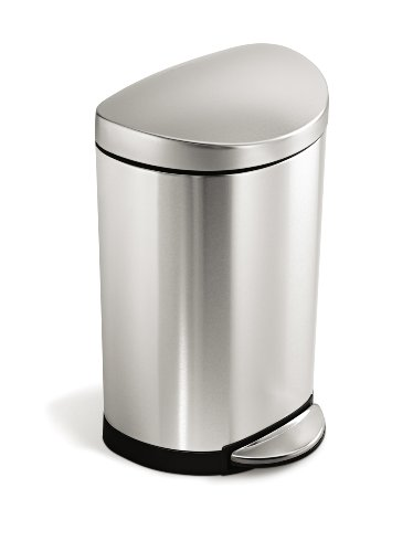 simplehuman Semi-Round Step Trash Can, Stainless Steel, 10 L / 2.6 Gal (Simplehuman Round Step Trash Can compare prices)