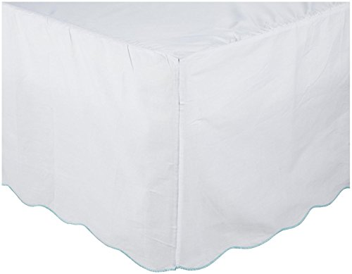 Oliver B Scallop Crib Skirt- White w/Turquoise Trim
