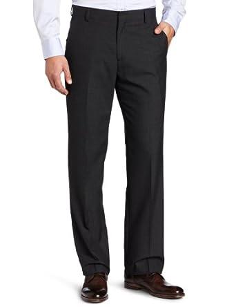 Kenneth Cole Reaction Men's Glen Plaid Modern Fit Flat Front Dress Pant, Black, 34x30