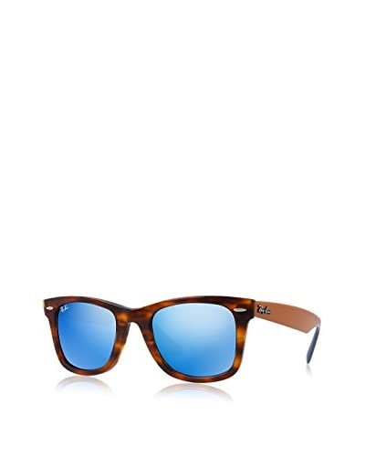 Ray-Ban 0RB2140 Square Sunglasses, Havana Grey Mirror & Blue Top Light Brown