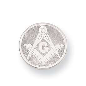 Rhodium-plated Masonic Tie Tack - JewelryWeb