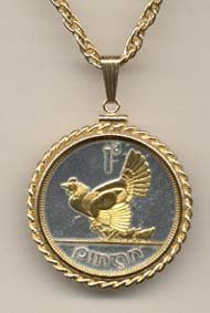 Irish Penny ÒChicken with ChicksÓ Two Tone Gold Filled Rope Bezel Coin on 24