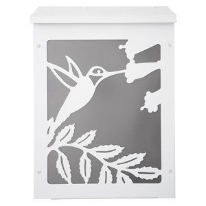 Blink Shadowbox Hummingbird Vertical Wall Mount Mailbox in White and