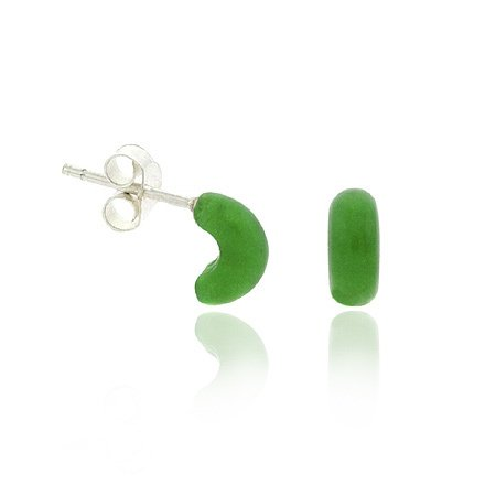 Retro Sterling Silver .925 Green Half Hoop Mini Small Kid Stud Earrings
