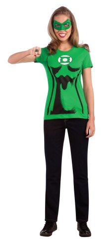 DC Comics Women's Green Lantern T-Shirt With Eye Mask And Ring