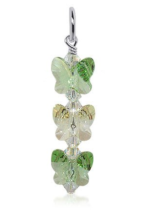 BDPS010 Made with Swarovski Elements Butterfly Shaped Sparkling Green AB Crystal.925 Sterling Silver Animal 1.5