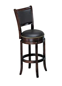 "ACME 07256 Espresso Finish Wood 29""SH High Back Swivel Bar Stool"