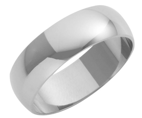 Wedding Ring, 9 Carat White Gold Heavy D Shape,