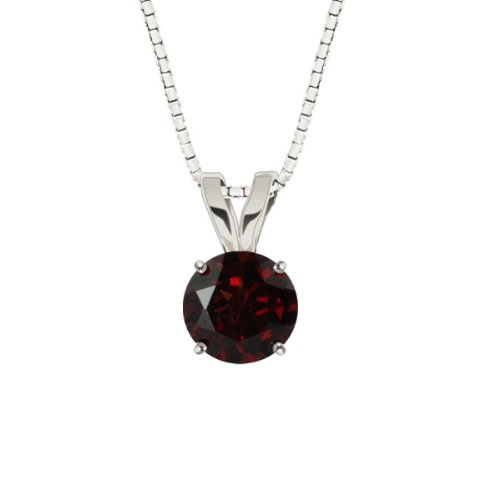 10k White Gold Round Garnet Gemstone Pendant Necklace (8mm 2.35 ct), 18""