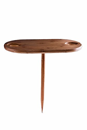 Premium Bamboo In-Ground Wine Glass Holder and Picnic Table (Wine Barrel Table Glass compare prices)