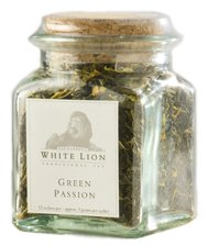 Green Passion Fine Green Tea, Loose Tea Glass Jar, White Lion Tea
