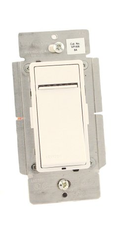 Leviton VPH08-1LX , Vizia + Digital 8A Fluorescent Dimmer for Hi-lumeor Eco-10 Ballasts, Single Pole and 3-Way, White/Ivory/Almond