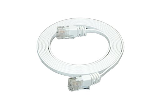Optimus Electric 7 Feet Cat6 Ultra Flat Cable With Smooth Jacket - White